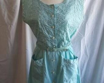 1950s blue eyelet dress