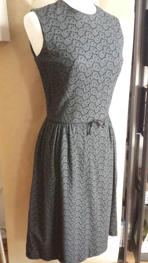 1950s black eyelet dress
