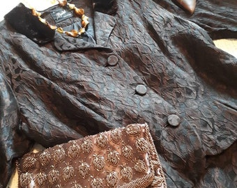 1950s Meridel suit in a beautiful black and brown damask and velvet