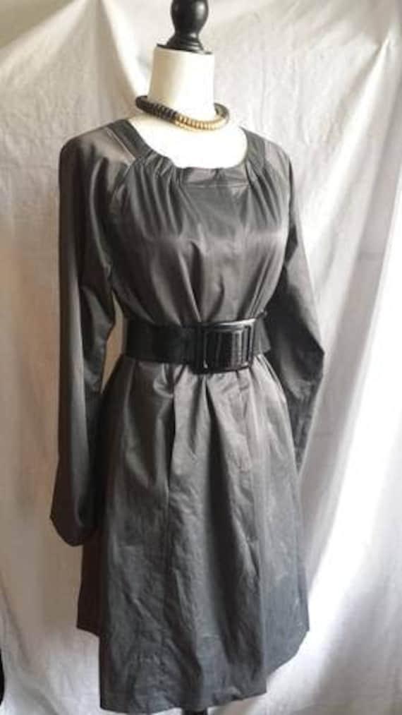 Eileen Fisher sharkskin coat dress with pockets.