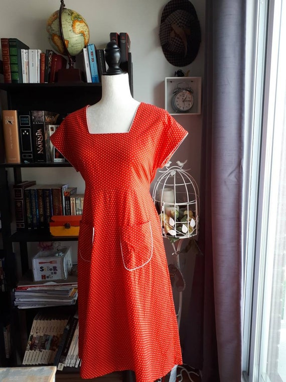 Red swiss dot summer dress