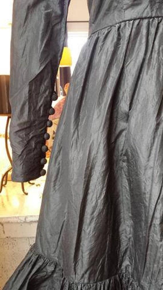 1960s Harold Levine original black taffeta dress w