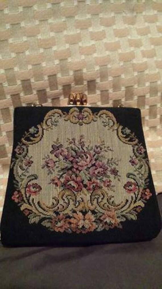 1910-1930s tapestry soirée handbag