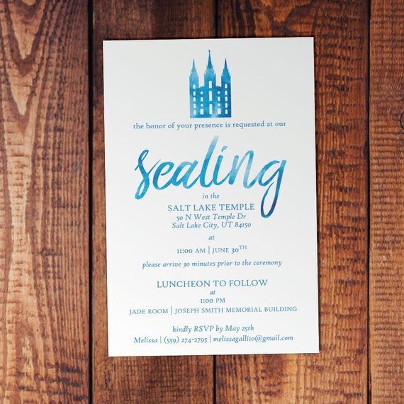 Watercolor Personalized LDS Temple Sealing Invitation