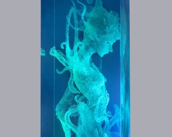 Resin goddess unique fantasy Cyberpunk living room Home Decor Large-scale cube sculpture model diorama lamp light gift Deco Art collection