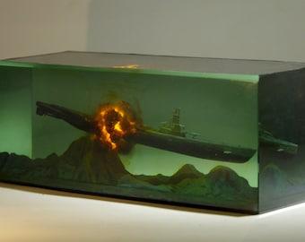 resin sculpture unique Explosion mushroom cloud desktop decoration military Warship submarine Man's Boy's gift art model miniature Diorama