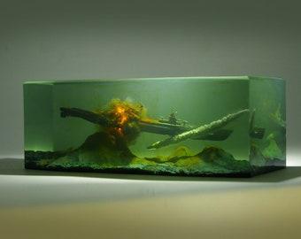 resin sculpture Explosion mushroom cloud Diorama Office desktop decoration military Warship submarine gift art model miniature Battlefield