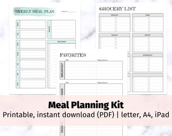 Meal Planning Kit | weekly meal planning bundle, grocery list, busy mom, ADHD Planner, Meal Prep, Instant Download, printable, ADHD hacks