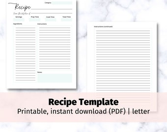 Printable Blank Recipe Page | recipe card template, print at home cooking list sheet, letter size, 8 color printing options, instant