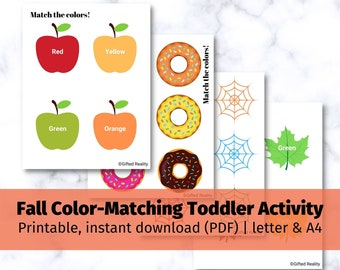 Toddler Fall Themed Color Matching Printable Sheet Pages Binder | toddler activity, toddler printable binder, toddler busy book, download