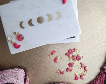 Pink Turquoise Moon marker - SINGLE - Knitting notions