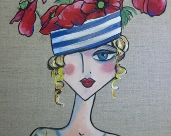 Striped hat and poppies