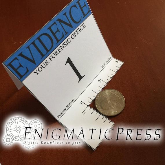 3 Crime Scene Evidence Marker Set Place Cards Blue Etsy