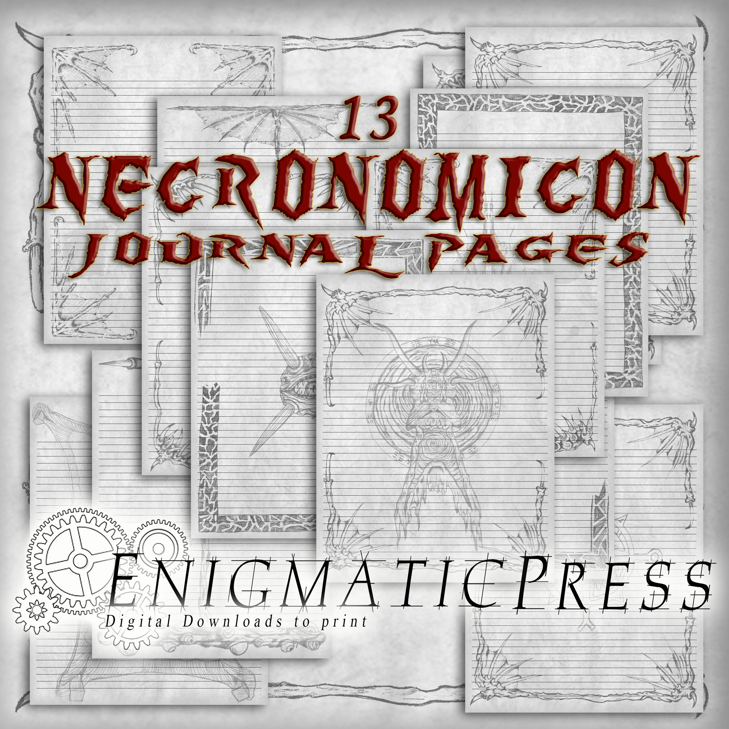 13 lined Necronomicon, spell book, 8 5x11 journal pages, for grand  grimoire, home printable, digital download PDFs