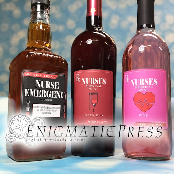 6 Nurse Wine And Liquor Labels Pdf Instant Digital Download Home Printable