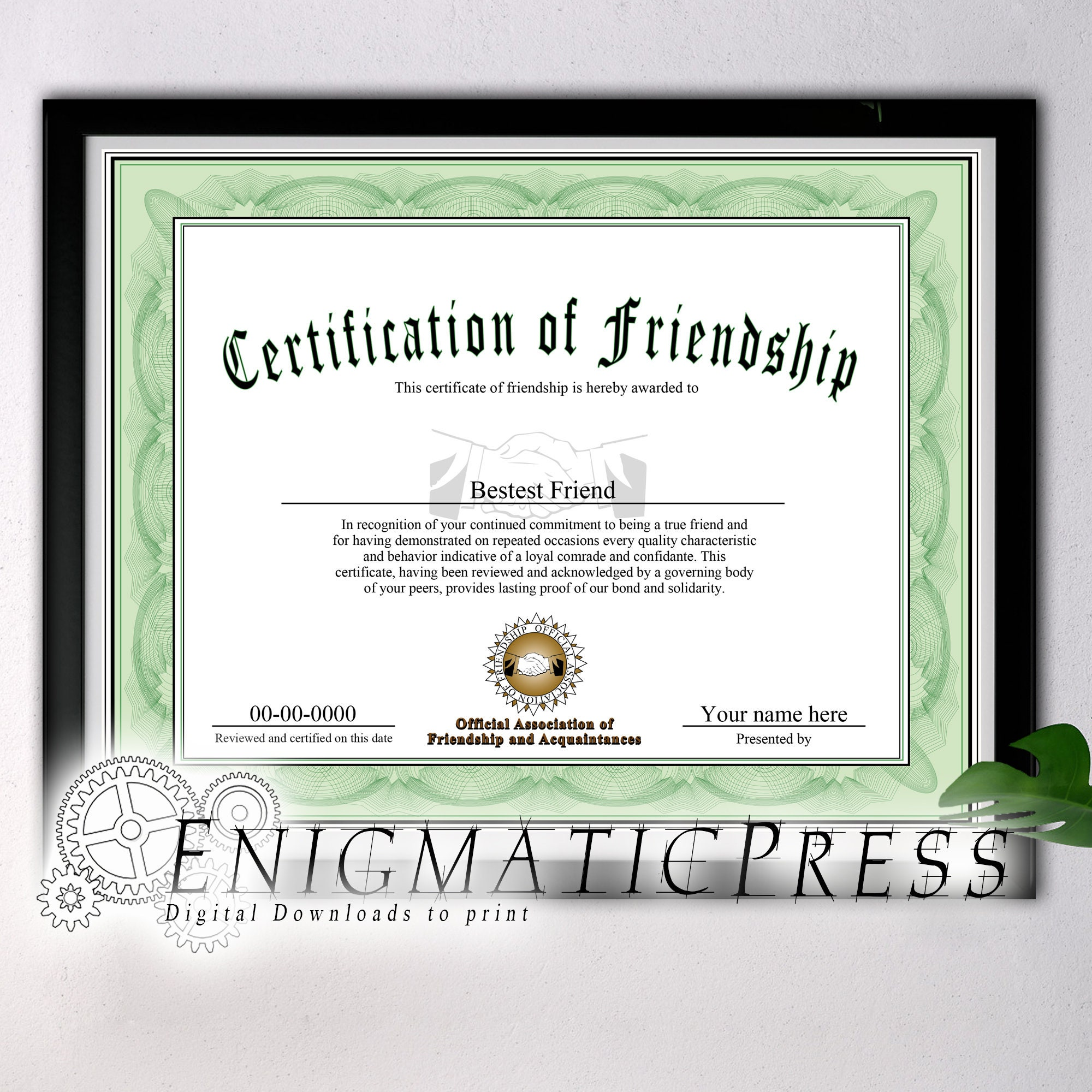 Certificate Of Friendship Award Style Gift With Editable Etsy