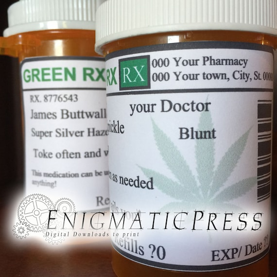 Weed Prescription Bottle Labels Dispensary Pharmacy Stickers Fit 16 To 40 Dram Diy Editable Pdf Instant Digital Download Home Printable