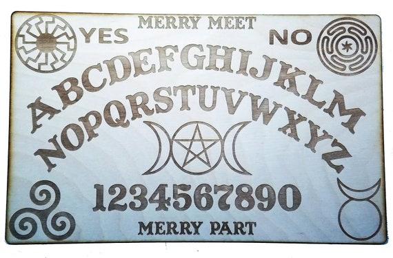Wooden Ouija Board Planchette W Wiccan Symbols Pentacle Etsy