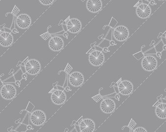 Diagonal Bikes, gray, from the Vintage Boardwalk collection designed by Kim Christopherson, Kimberbell, MAS9716-K, beach, bikes, summer