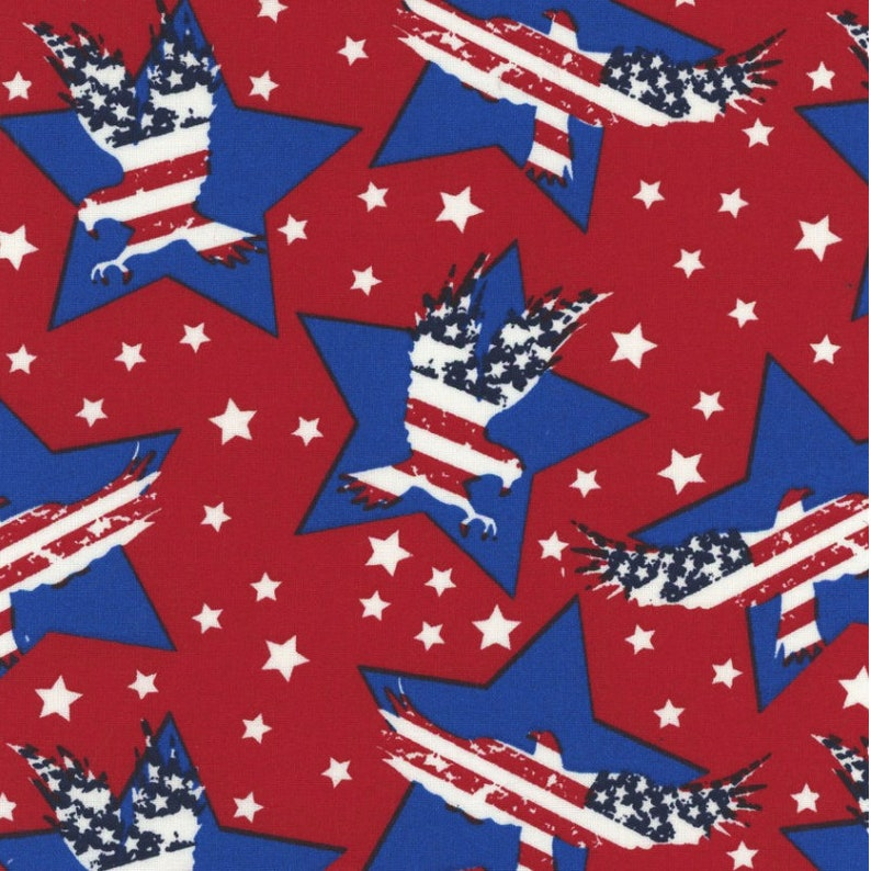 red Patriotic Prints by Galaxy Fabrics for Maywood Studio white Stars and Eagles and blue