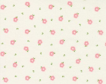 Sincerely Yours, Chamomile Floral Blender, Ivory by Sherri & Chelsi for Moda Fabrics, 37614-11, Stitch Pink, Together