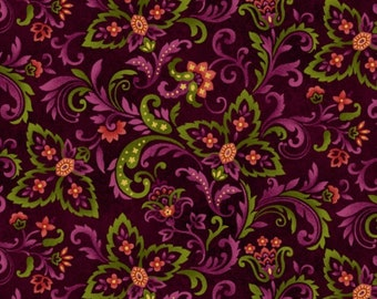 Autumn Album 2019-89 by Henry Glass Fabrics, Paisley print  on brown background