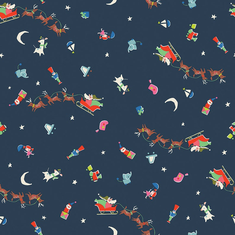 Peach and Navy Blue Santa designed by Jill Howarth for Riley Blake Designs Christmas Fabric Bundle Way Up North