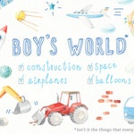 Watercolor boy clipart (baby shower, toys, transport, construction, truck, pattern, space, rocket, airplane, balloon, it's a boy, children)