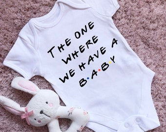 FRIENDS INSPIRED THE ONE WHERE WE BECOME PARENTS TV SHOW BABY GROW VEST GIFTS