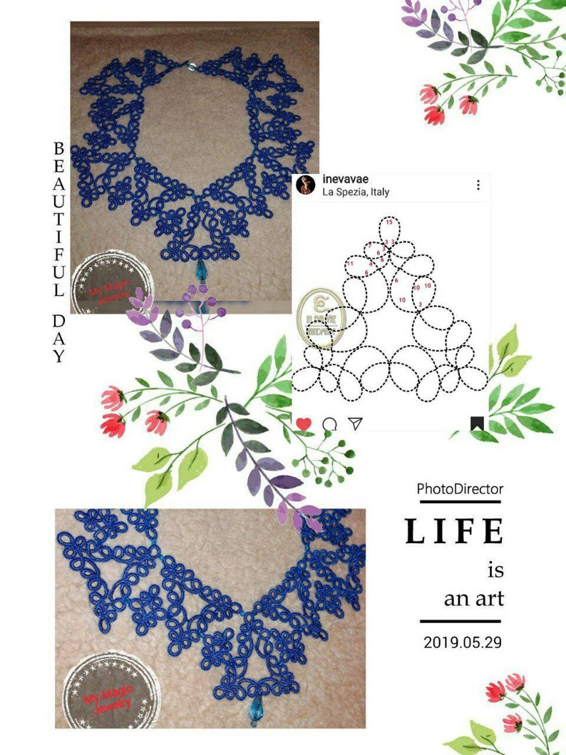 Royal Blue Lace Set Bridal Blue Necklace and Earrings Tat Jewelry Set Tatting Lace Evening Necklace Vintage Blue Lace Gift for Women