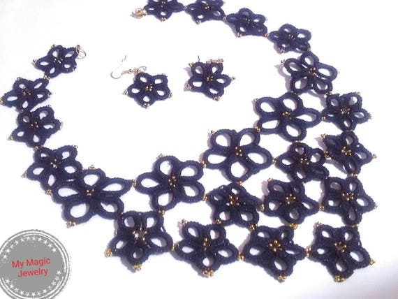 Tatting lace necklace Witchy jewelry Mourning Jewelry Black necklace Black Crystal Statement necklace