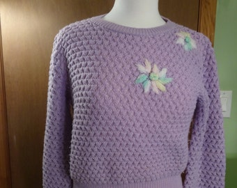 6432b6169b Vintage 1970 s Lavender Sweater - Retro Kitsch Size Small