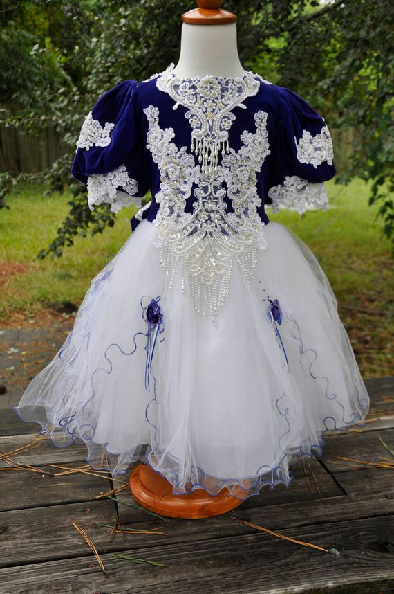 Vintage Royal Blue and White Pageant Flower Girl Dress for | Etsy
