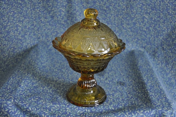 Vintage Amber Glass Compote With Lid