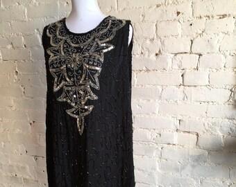 1920s Flapper Dress Black/Silver Sequin