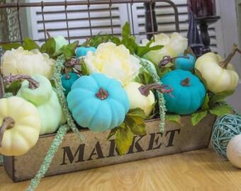 Basket/ Farmhouse/ Galvanized/ Home Decor/ Gift for her/ Patio/ Living/ Blue & White Pumpkin Market Basket Arrangement