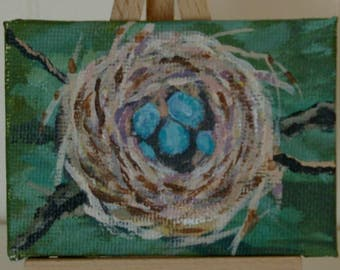Spring Robins Nest, Robins Eggs, Spring, Easter, Nest, Green, Blue, Original ACEO, acrylic, canvas panel, mini art trading card