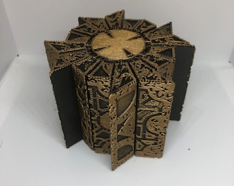 Painted Hellraiser Inspired Functional Puzzle Box Lament Configuration (Movie Replica 1:1, Black with Deep Gold, PLA)