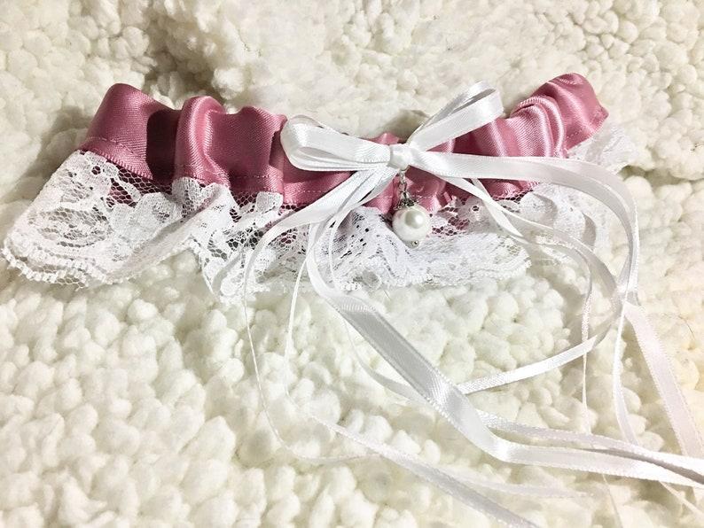 Rose Gold Pink Satin Garter Garter with Pearls Pink Garter Pink Toss Garter Wedding Garter Blush Lace Garter Pink and White Garter