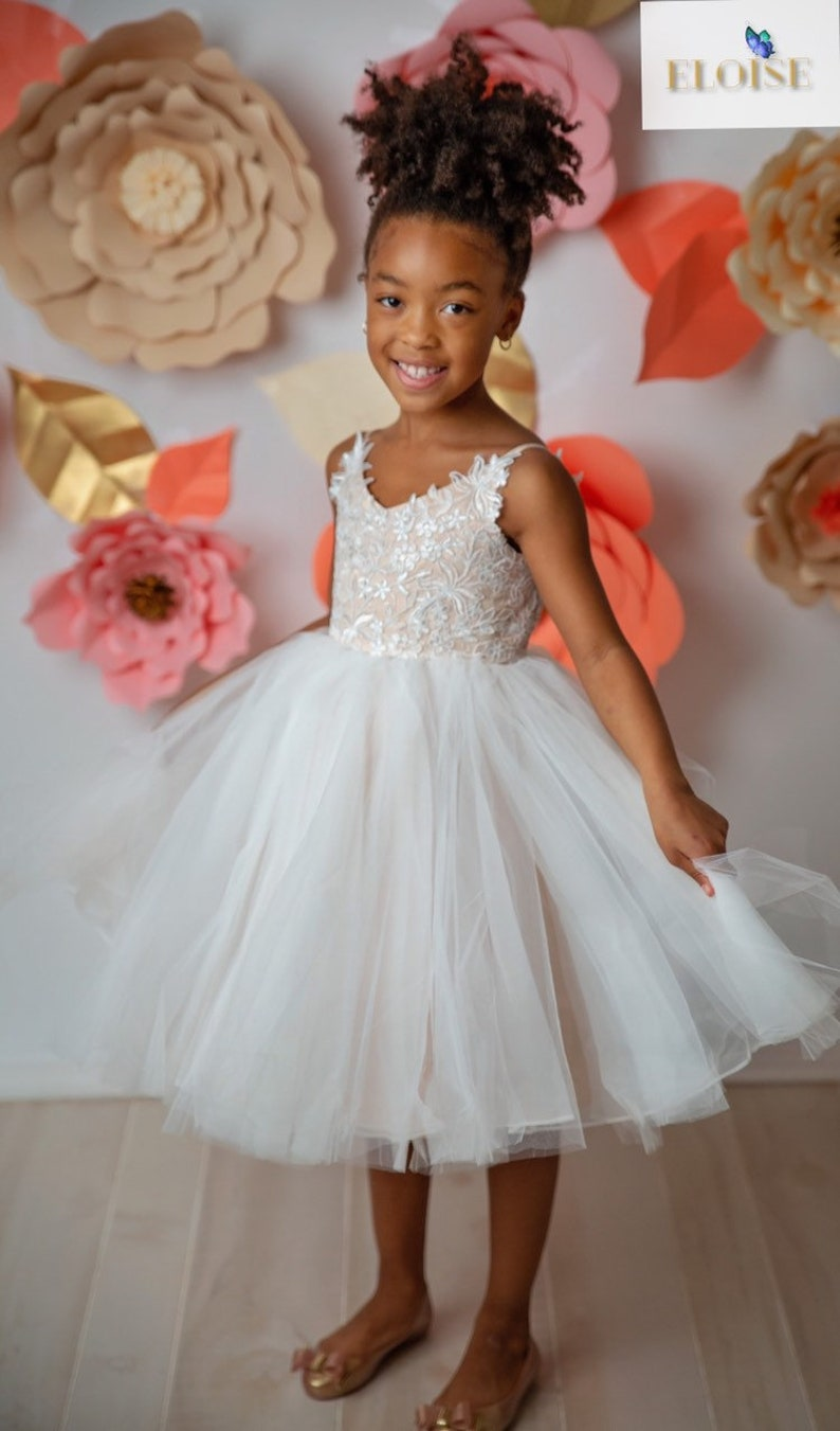 987d6acc9aa4 Strapped Lace Tulle Organza Ball Gown Flower Girl Dress