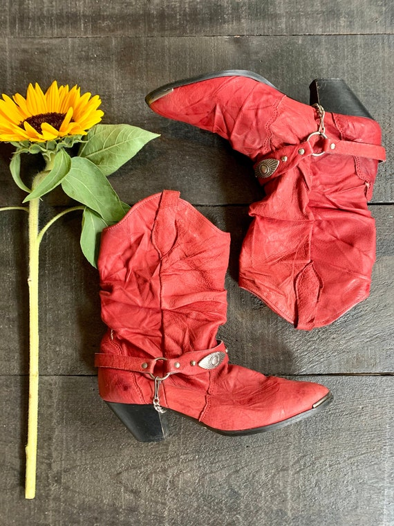 Vintage 80s/90s Red Leather Cowboy Boots with Ankl
