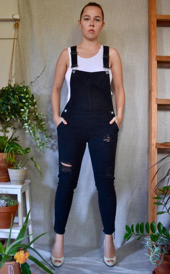 Vintage Black Denim Tattered Overalls/Suspender Je