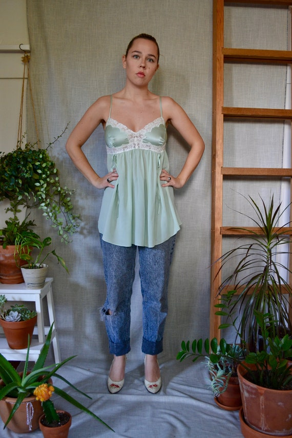 Vintage Mint Green Silk Chemise Nightdress Tank To