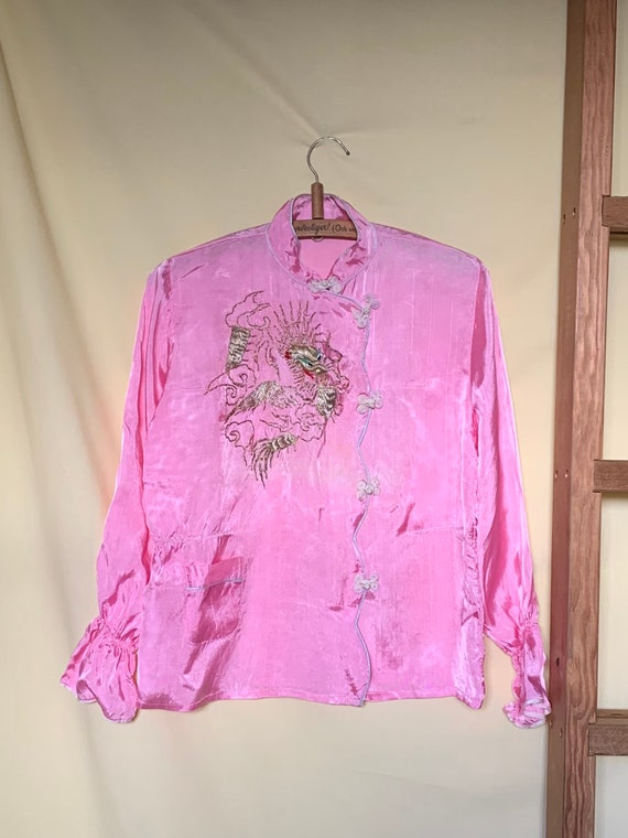 Vintage 1950's Pink Asian Pajama Dragon Embroidere