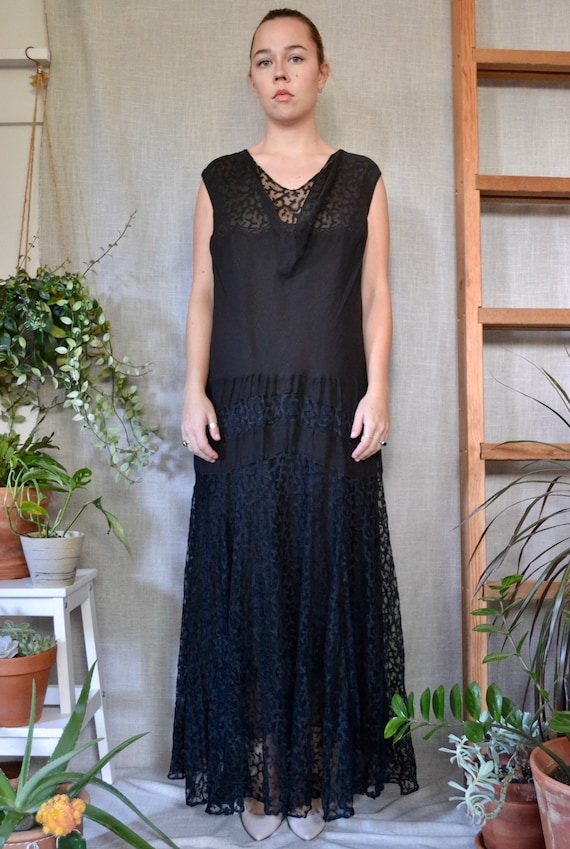 Vintage 1920s Franklin Simon & Co. Evening Gown Bl