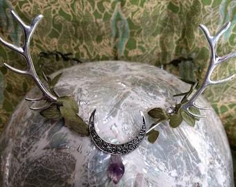 Horned Crown - Antler Tiara - Moon Circlet - Goddess Crown - Moon Tiara - Woodland Crown - Goddess Circlet - Handfasting Circlet