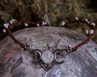 Elven Circlet - Fairy Crown - Moon Crown - Moon Circlet - Triple Moon Headpiece - Goddess Crown - Celestial Tiara - Handfasting Circlet