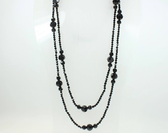 Art Deco Style Sterling Silver Black Crystal Patterned Beaded Necklace