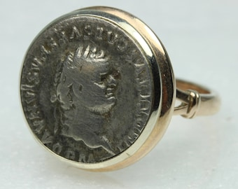 Antique Roman Siliqua Silver Coin 9ct Yellow Gold Ring Size: Q-8