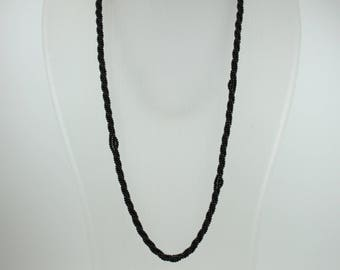 Art Deco Style (1920-1935) Silver Gold Plate Black Onyx Beaded Necklace